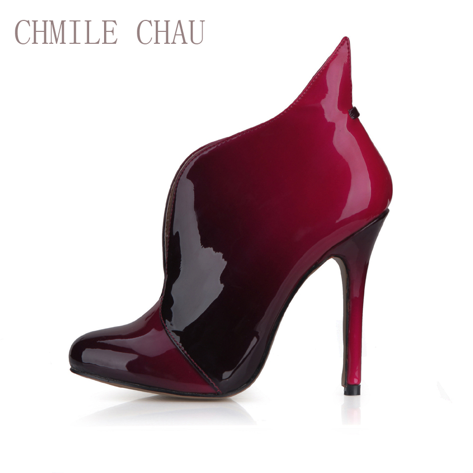 CHMILE CHAU Sexy Party Shoes Women Round Toe Stiletto High Heels Ladies Ankle Boots Zapatos Mujer Bootie Plus Size 10 0640CBT-i5