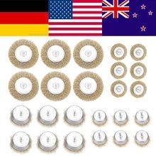 24 pièces brosse à fil tasse & brosses plates outils de roue de forage ensemble spazzole trapano brosse menage