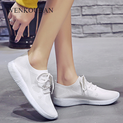 White Sneakers Women Vulcanize Shoes Summer Ladies Trainer Knitted Shoes Spring Flats Casual Lace-up Sock Shoes Zapatillas Mujer Karachi