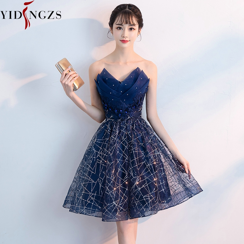Short Evening Dress YIDINZGS Navy Blue Sequins Pleat V-neck Formal Party Dress