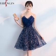 Kısa gece elbisesi YIDINZGS lacivert Sequins plise v yaka resmi akşam parti elbise