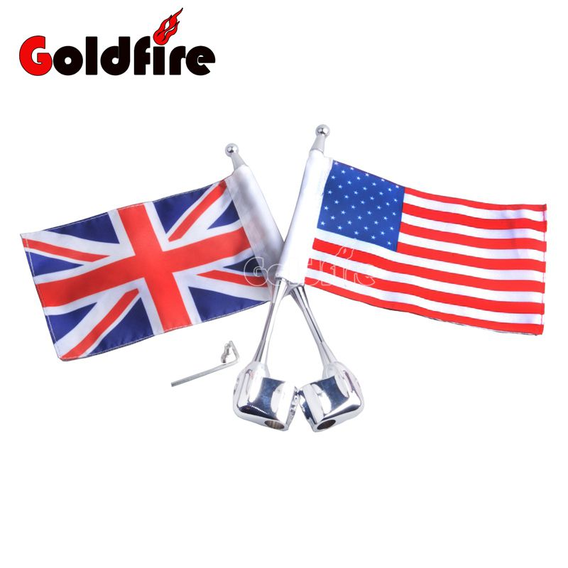 Motocycle United Kingdom flag Side Mount Luggage Rack Antenna Vertical Flag Pole For Honda GoldWing GL1800 GL1500 2001-2012 flag of the united kingdom large 1 5 meter size