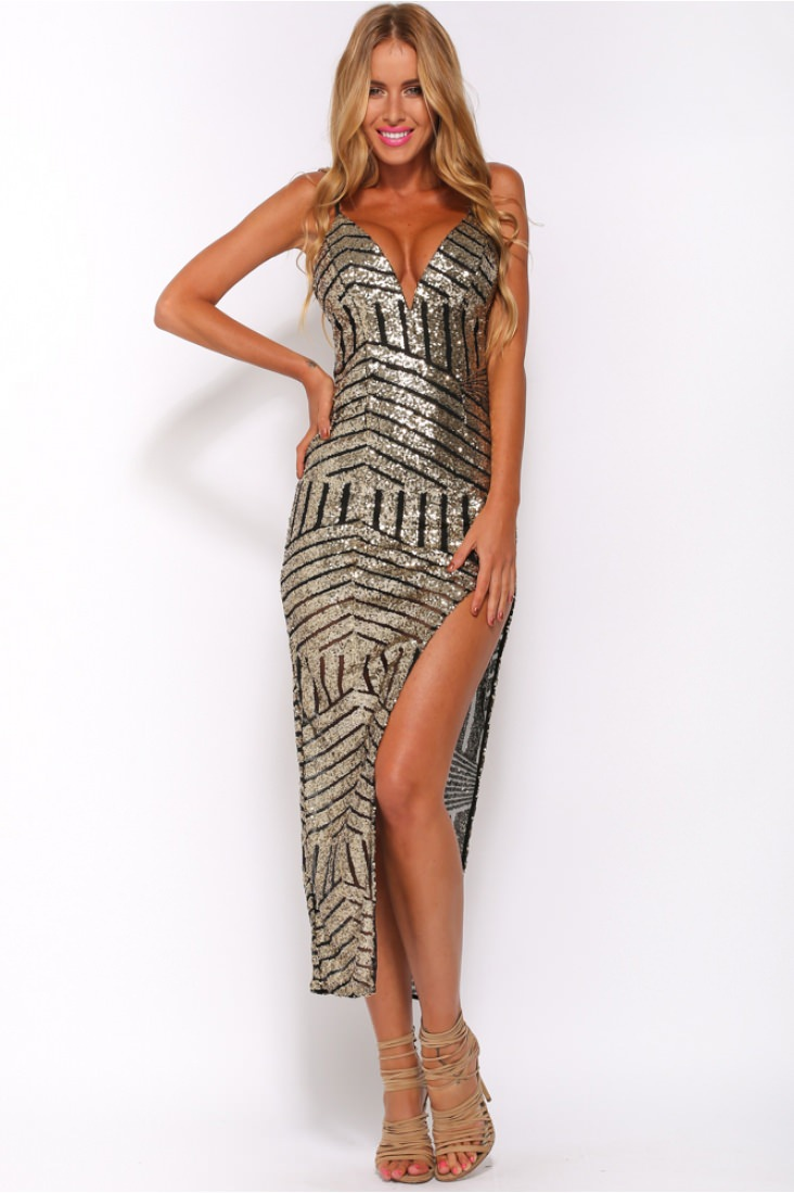 Silver Gold Sequin Evening Bodycon Ankle Length Dress Open Side Sexy V-neck Iregular Long Party Night Club Backless - EASY GOING STORE store