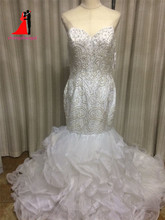 Luxurious Crystal Beads Mermaid Wedding Dresses 2017 Vestido De Noiva Sweetheart Plus Size Bridal Gown Ruffles Court Train