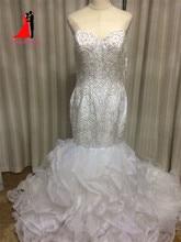 Luxurious Crystal Beads Mermaid Wedding Dresses 2017 Vestido De Noiva Sweetheart Plus Size Bridal Gown Ruffles Court Train