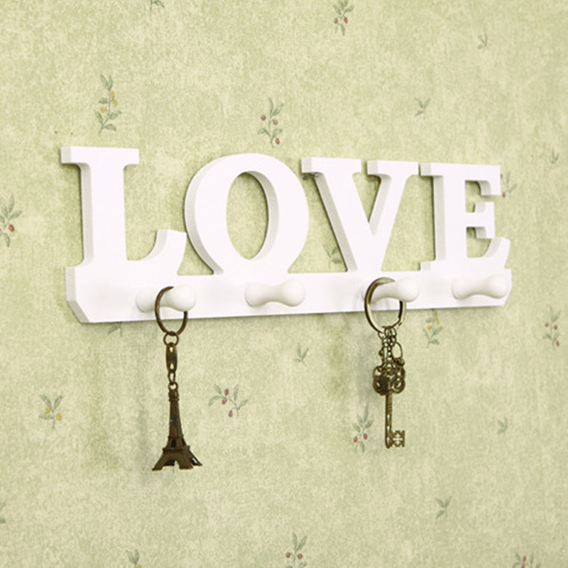 Bird/love design DIY wood decorative wall shelf with hook key ...