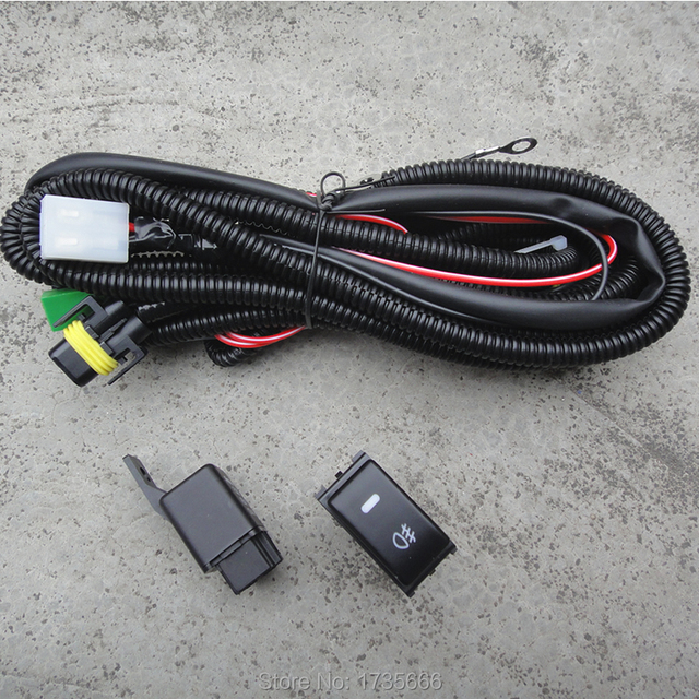 Fog Light Wiring Harness Socket Wire LED indicators Switch  Relay