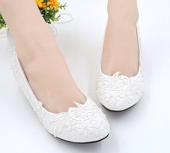Bridal Shoes Elegant: Fashion Lace White Wedding Shoes For Woman PR583 The Low