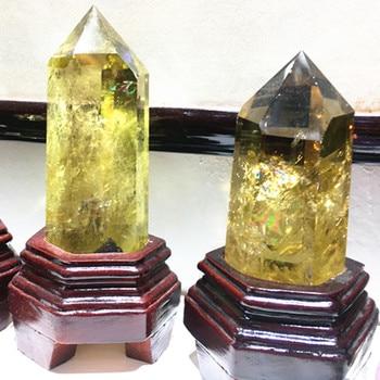 100 mm natural yellow wand crystal point aura healing natural stone and mineral feng shui 1pcs