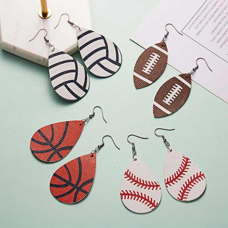 Creative Pu Leather Softball Football Basketball Print Pattern Drop Earrings For Women Big Teardrop Sports Ball Earrings Jewelry