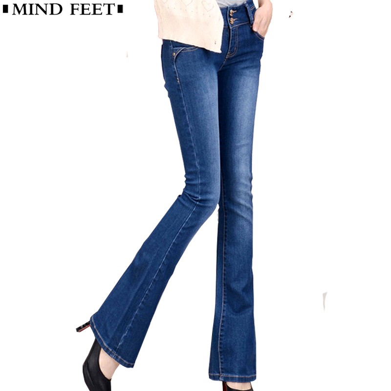 MIND FEET Women Jeans Plus Size Female Stretch Slim Denim Flares Pants Breathable Fashion Bell Bottom Trousers