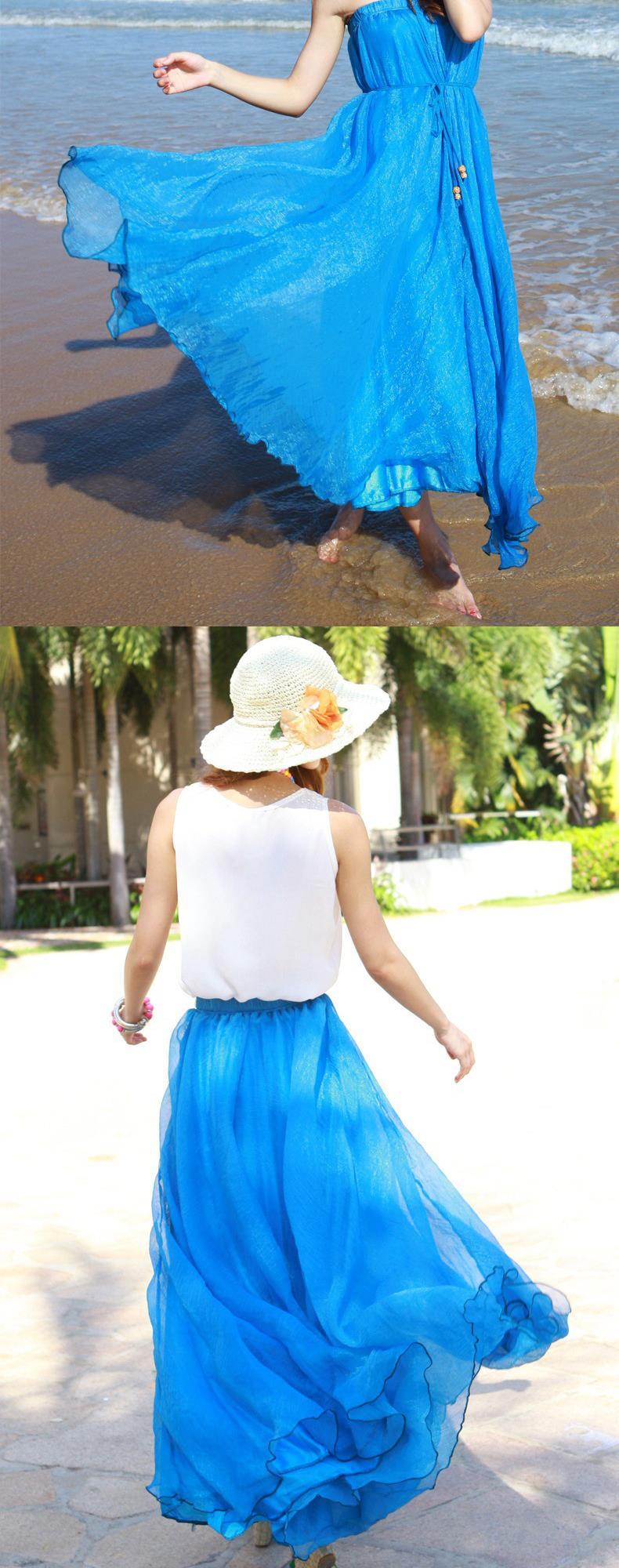 Sherhure 19 High Waist Women Chiffon Long Skirts Floor Length Ruffles White Summer Boho Maxi Skirt Saia Longa Faldas 25