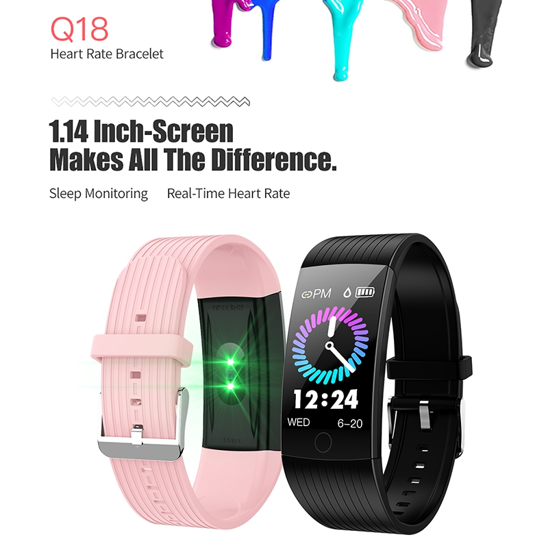Q18 Smart Bracelet 1 14 Inch Full Color Screen Ip68 Waterproof Heart Rate Blood Pressure Detection Incoming Call Reminder Info in Smart Wristbands from Consumer Electronics