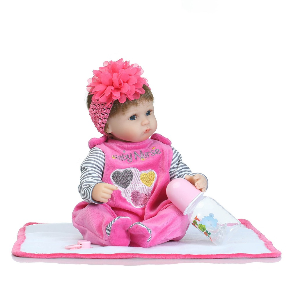 2017 New Reborn Babies Dolls Fashion Princess Girls Toys Pasted Wig Cartoon Lovely Puppe Cotton Body Silicone Reborn Baby Doll