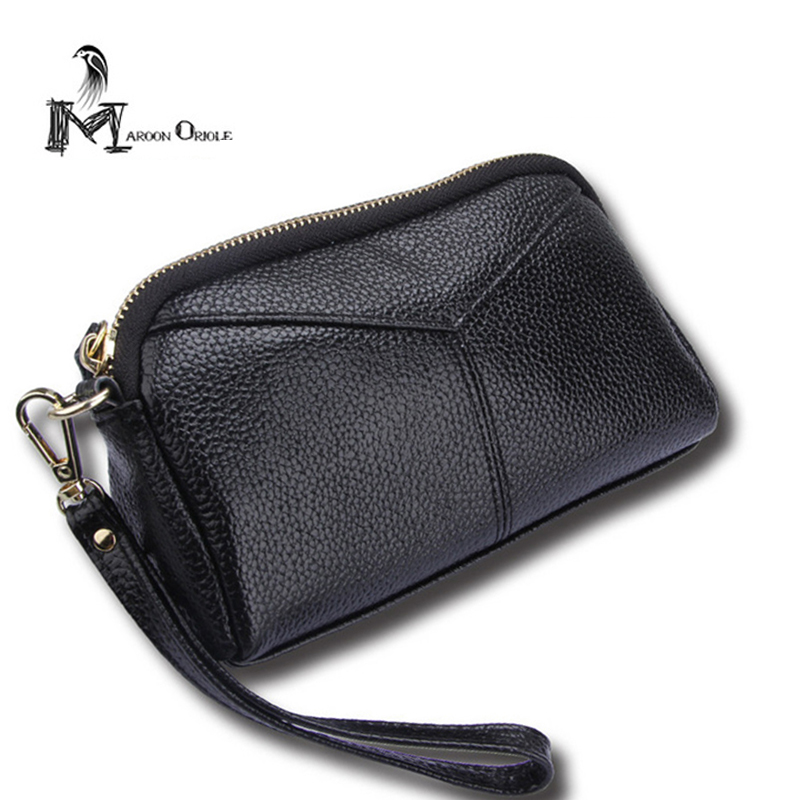 Female Genuine Leather Bags Clutch Purse Wrist Bag for Coins Womans Genuine Leather Wallet Cow Leather Bag