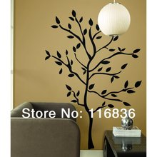 Hot Selling  47*62inch Large TREE BRANCHES DIY Wall Stickers BLACK Leaves Mural Room Decor NEW Decals Modern House poster