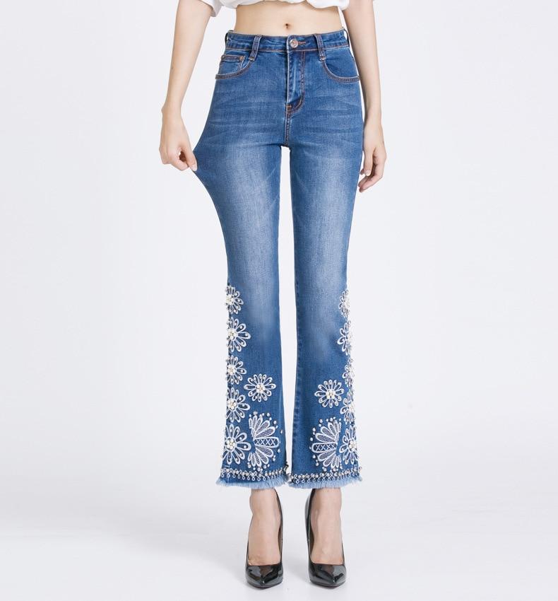 KSTUN FERZIGE Jeans Women Summer Slim Stretch Embroidered Flares Bells Ankle Length Pants Manual Beads Light Blue Elegant Ladies Girl 15