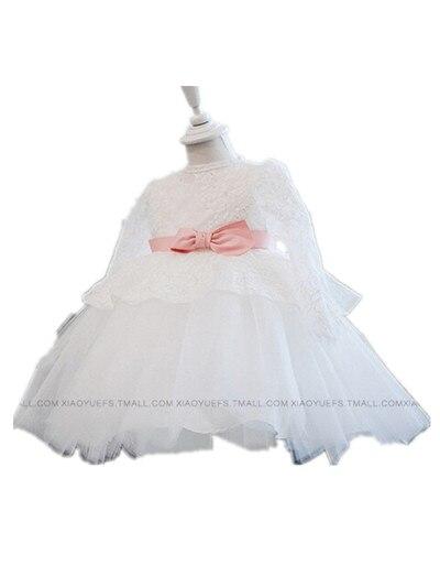 BABY WOW Full Sleeve Baby Girl Princess Christmas Dress White Baptism Christening Gowns Flower Girl Dresses