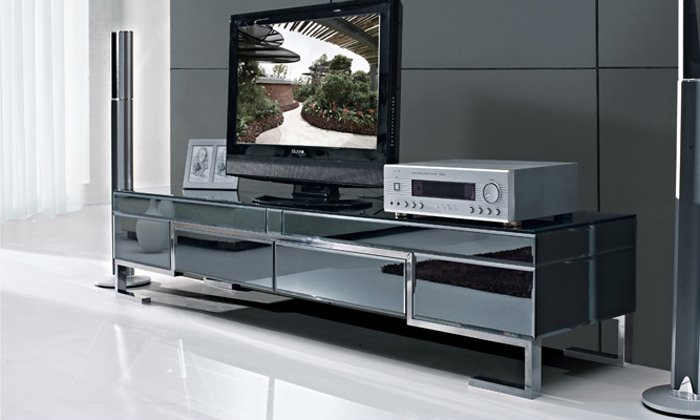 The Stylish Simplicity Of Stainless Steel Black Painted Tempered Glass Tv Cabinet Side Cabinets