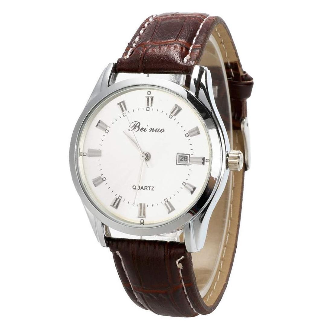 Beinuo Men Boy Sport Analog Quartz Alarm Auto Day Date Display Wrist Watch Leather band White+Coffee