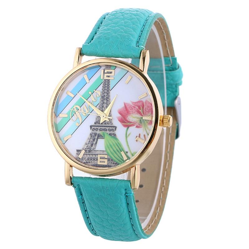 693cb1dbb929 Nouveau Femmes Montre Paris Tour motif dames en cuir Quartz Bracelet  Montre-bracelet montres pour femmes Cadeau montres relojes mujer