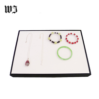Quality White Leatherette Jewelry Display Flat Tray Stackable Case Necklace Bracelet Storage Organizer Box for Store Counter Top