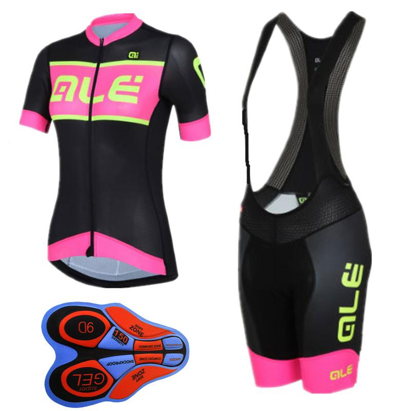 ALE 2017 women short sleeve cycling jersey bike shirt bib shorts High quality summer breathable bicycle wear ropa ciclismo
