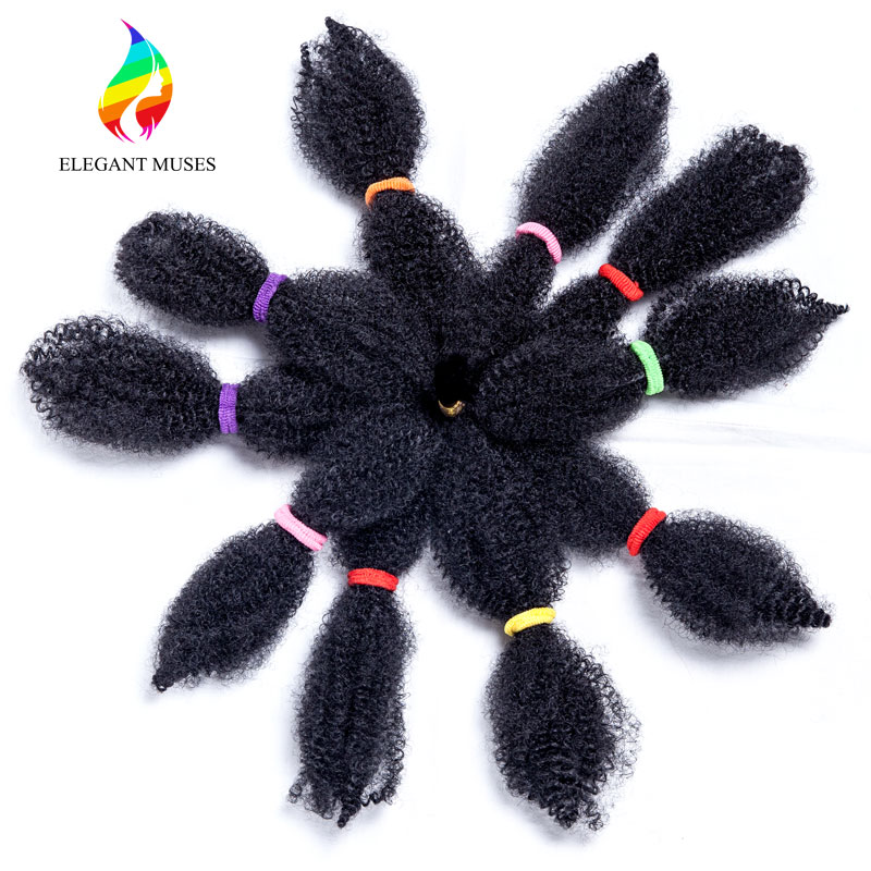 ELEGANT MUSES 10 Inch 50g/pc Black Synthetic Fiber Crochet Braids Afro Kinky Twist Braid ...