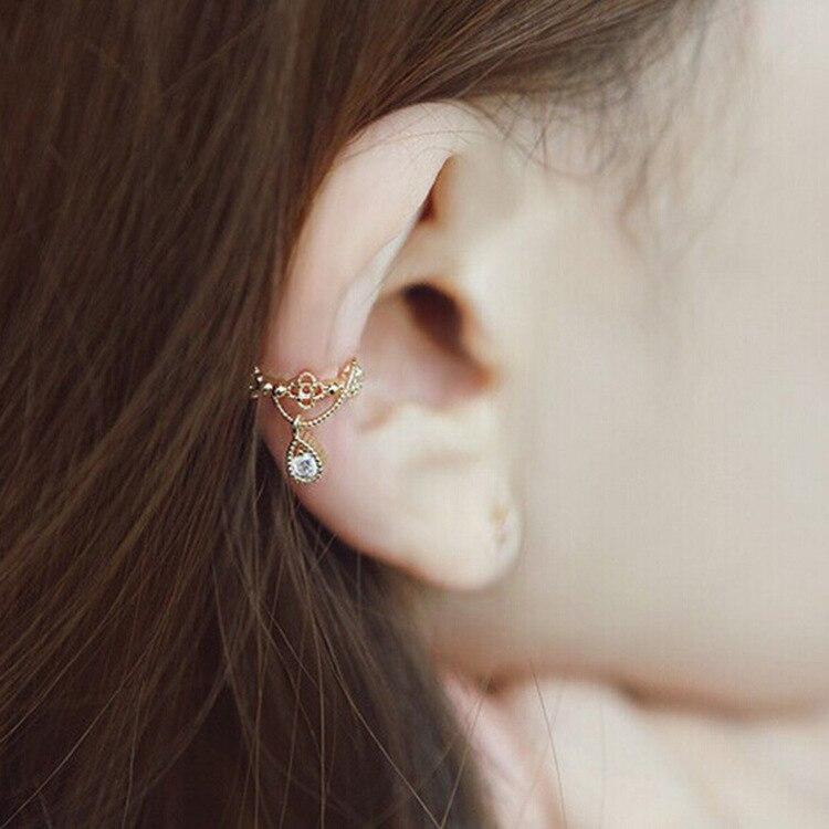 Official Website 1pc Womens Fashion Cz Crystal Gold Silver Flower U Shape Ear Cuff Clip-on No Piercing Earring Wrap Clip For Women Earrings