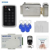 Diysecur 원격 제어 125 khz rfid 액세스 제어 시스템 전체 키트 세트 + 전자 도어 잠금 + 전원 공급 장치 + 종료 버튼