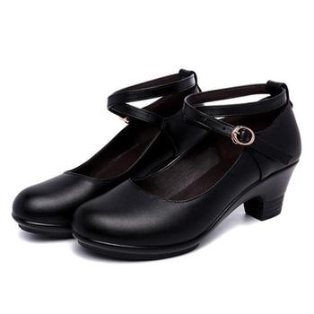 Pompes Noires Pour Le Travail | Rouge Noir Bloc Talons Chaussures Talon Moyen 6CM Femmes Chaussures De Danse Pour Dames Travail Split Cuir Chaussures Femmes Pompes Plate-forme Chaussures