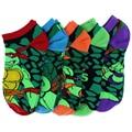 5 pairs Бесплатная доставка Новые вывески Мультфильм носки мужские Ninja Черепаха пара лодка носки Высокого качества для женщин носки