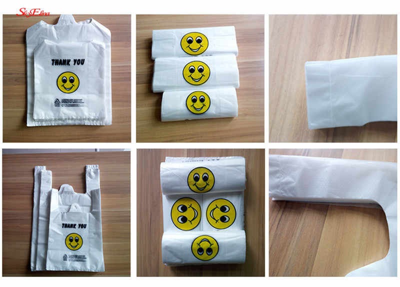 50pcs/lot  Supermarket shopping bag vest Plastic bags with handle snack boutique clothing Milk tea packing bags 5z HH284-288