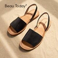 BeauToday Summer Sandals Women Genuine Cow Leather Female Gladiator Slingback Strap Flat Heel Shoes Handmade 32032