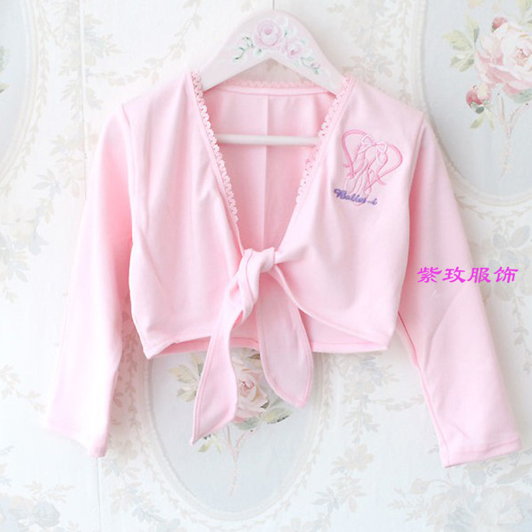 Pink/White Girls Ballet Wrap Sweater Cardigan Dance Clothes Kids Knitted Long Sleeve Knit Wear Discount Winter Warm Belt Sweater