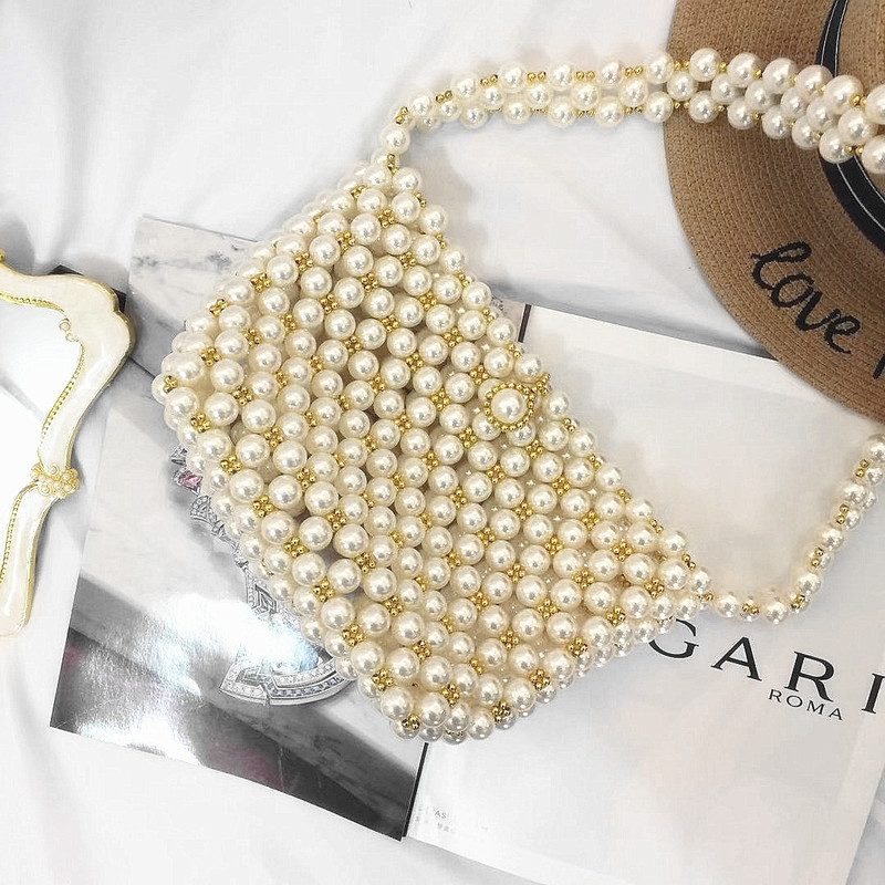 2019 spring and summer new women's bag bag popular pearl women's bag seaside holiday oblique cross small bag