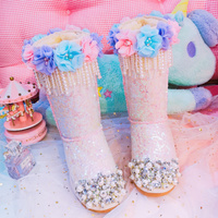 Winter women's boots high quality exclusive custom leather sweet pearl tassel snow boots foreign trade large size women's boots.