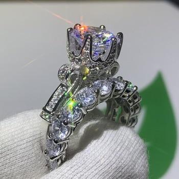 Luxury Jewelry 925 Sterling Silver Round Cut AAAAA Cubic Zirconia Wedding Crown Ring Set 1