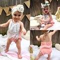 2016 Roupa Das Meninas Bonitos Do Bebê Recém-nascido Bebes Criança Crianças Bodysuit 0-24 M Bebê Infantil Bodysuits Do Corpo Sem Mangas Borla roupas