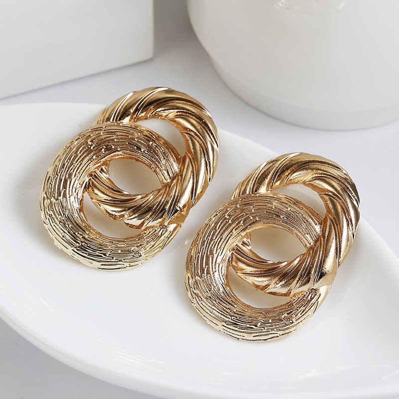 Przesadzone metalowe kolczyki dla kobiet 2019 retro dwuwarstwowe duże koło złoty wisiorek kolczyki trend w modzie biżuteria hurtowych