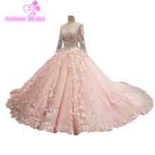 Desain Baru 2017 Mewah Lace Appliques Beaded Kristal Lengan Panjang Puffy Wedding Gown Pink Wedding Dresses Robe De Mariage