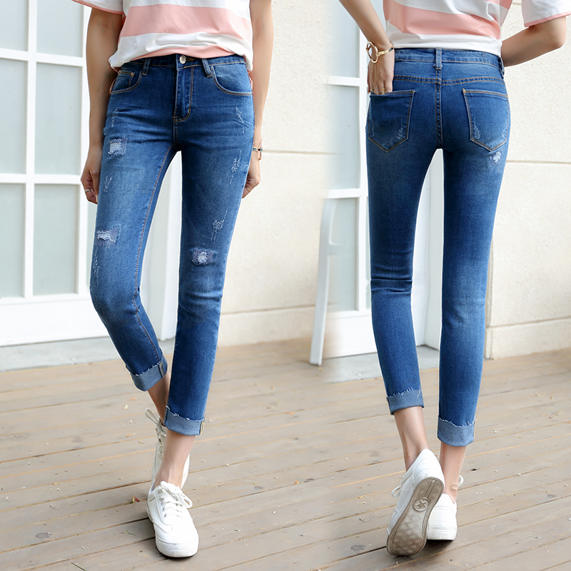 New 2017 Fashion Ladies jeans with Embroidered Flares SequinedDenim Pants Stretch Womens Skinny Jeans Denim Jeans Female 8663