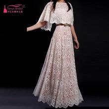 Spitze A Line Abendkleider Trägerlose abendkleider Mit Jacke Lange Kleid Homecoming kleider online china Z405