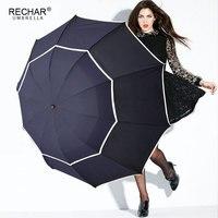 RECHAR Brand Quality Umbrella Rain Woman Men Windproof Double Layer Sun 3 Floding 112cm Paraguas Male