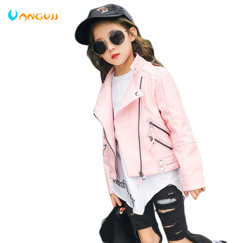 2018 autumn baby pu jacket girls rivet zipper cool jacket Leather clothing 5-11 years old Korean leather jacket all zipper design pu leather jacket