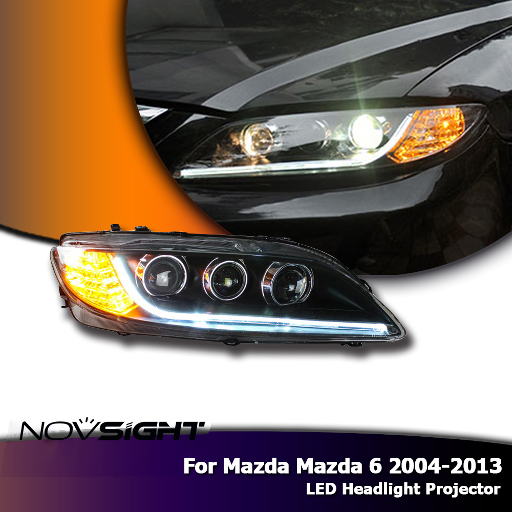 2PCS Car Style LED headlights for Mazda 6 2003 2013 for Mazda 6 head lamp LED DRL Lens Double Beam H7 HID Xenon bi xenon lens