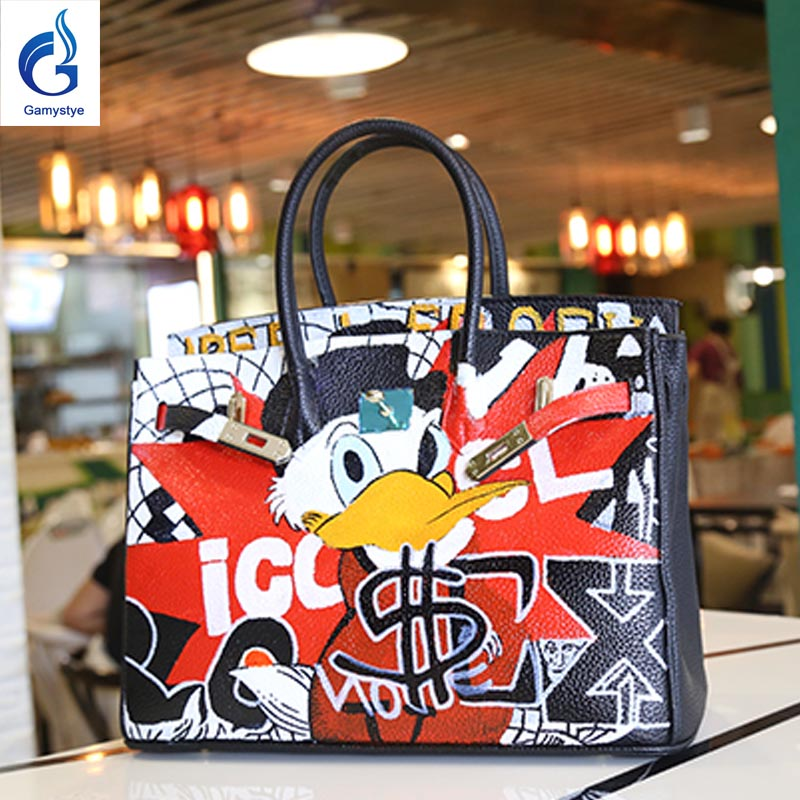 2018 Personality Women Bag Original Design Hand-Painted Graffiti Cartoon Prints Platinum Bag Women Leather Handbag Casual Tote Y