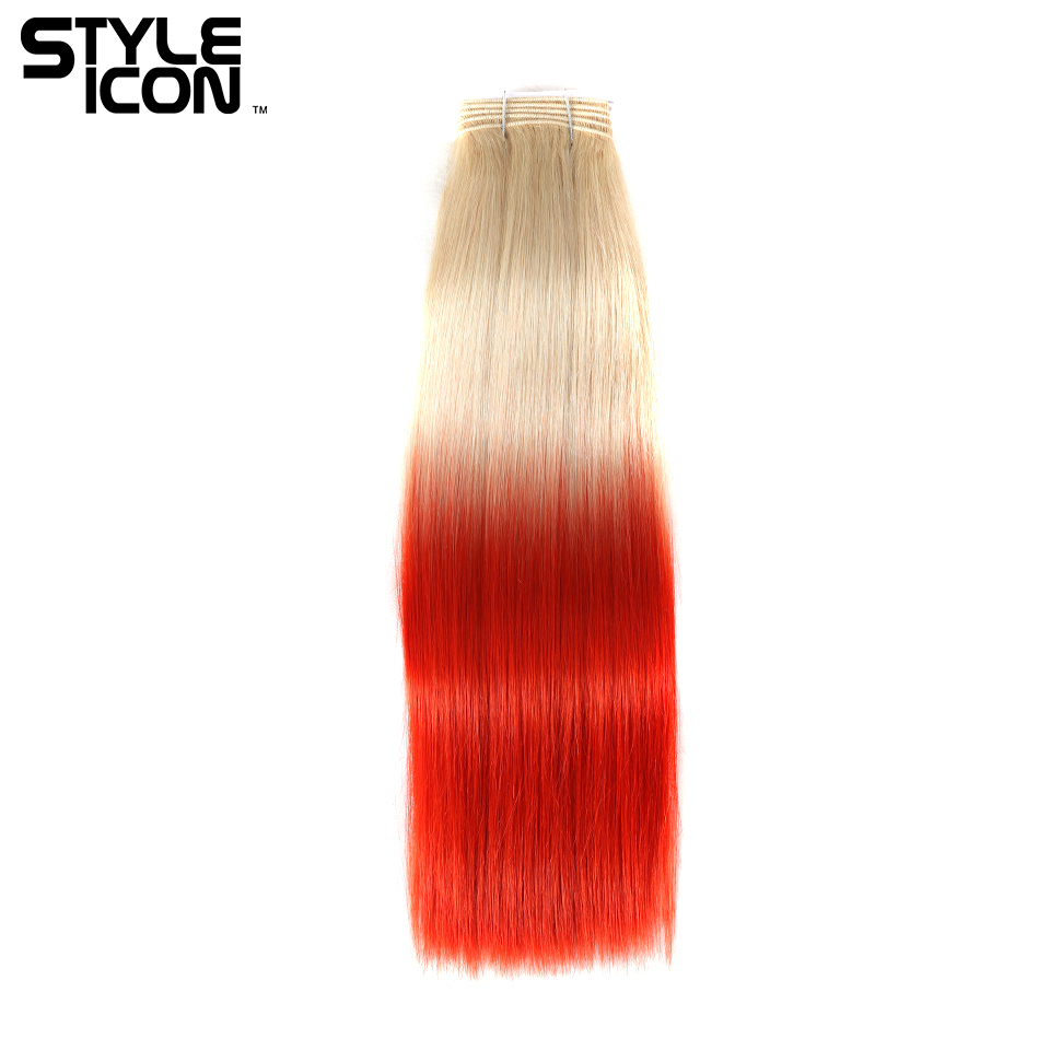 Styleicon Pre-colored Brazilian Straight Hair Bundles 18 Inch 1 Piece Deal T20/RED Color 100% Remy Human Hair Weave Bundles