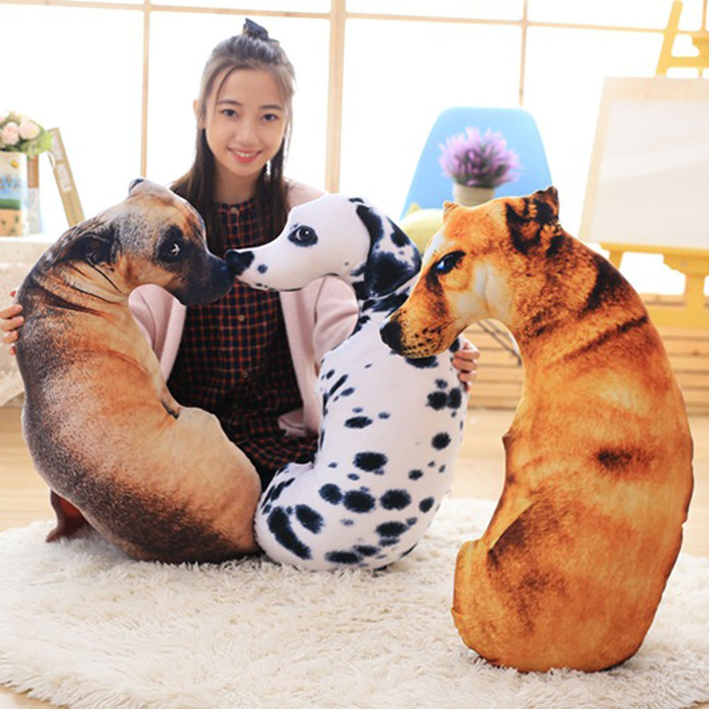 1 PC 3D Animal Cat Dog Shape Throw Pillow Cotton Plush Soft Office Cushion Gift Cute Sofa Home Decor ...