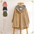 Новый 2016's Мори девушка Японский палевый печати Небольшой свободный с капюшоном ветровка пальто